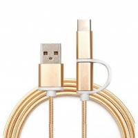 2in1 1m Nylon USB-C Kabel Ladekabel Datenabel Typ C USB 2.0 & Micro USB, gold