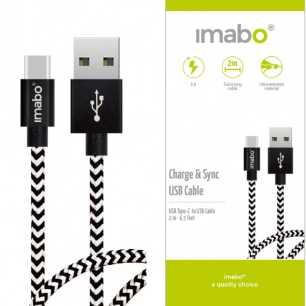 2m imabo® Nylon USB-C Typ C Kabel Datenkabel für Samsung Galaxy, Huawei, uvm.