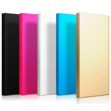 Powerbank externer Akku 2 x USB mit LED, 5000 mAh für Smartphone, Alu, schlank