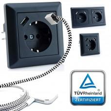 230 V Schutzkontakt Steckdose 2 x USB Ladegeräte passend für Gira System 55 Schwarz TÜV