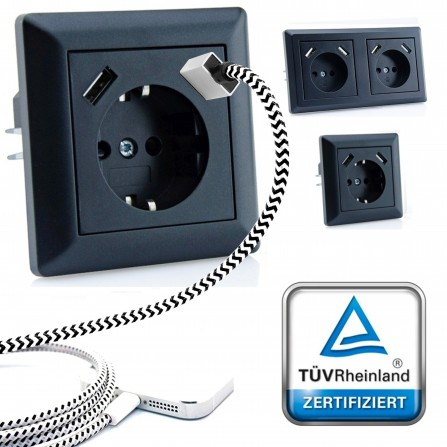 230 V imabo® Schutzkontakt Steckdose 2 x USB Ladegeräte passend für Gira System 55 Schwarz TÜV