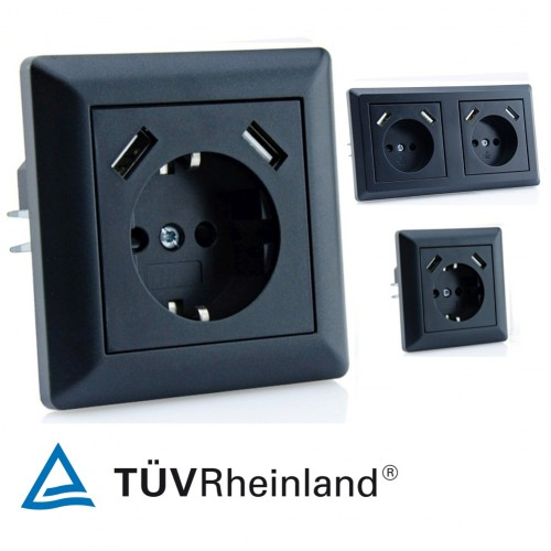 230 V USB Steckdose für Gira System 55 Schwarz glänzend | smartacc