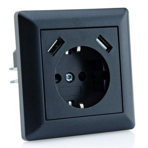 230 v usb steckdose passend f r gira system 55 schwarz smartacc. Black Bedroom Furniture Sets. Home Design Ideas