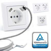 230 V imabo® Schutzkontakt Steckdose 2 x USB Ladegeräte passend für Gira 55 Reinweiß glänzend TÜV