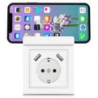 230 V Schutzkontakt Steckdose 2 x USB Ladegeräte Weiß, mit Smartphone-Halterung, Ablage