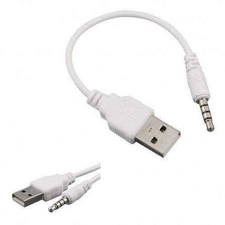 Adapter USB-A Male auf 3,5 mm Klinkenstecker Klinke AUX Kabel Audio Musik weiß