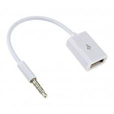 Adapter USB-A Female auf 3,5 mm Klinkenstecker Klinke AUX Kabel Audio Musik weiß