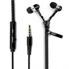 In-Ear Kopfhörer Stereo Audio 3,5 mm Klinke mit Mikrofon Reißverschluss Zipper schwarz