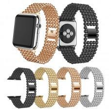 Perlen-Armband, rostfrei, Metall, Edelstahl für Apple Watch iWatch 38 / 42 mm